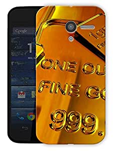 "Gold Bar Love Printed Designer Mobile Back Cover For ""Motorola Moto X"" By Humor Gang (3D, Matte Finish, Premium Quality, Protective Snap On Slim Hard Phone Case, Multi Color)"