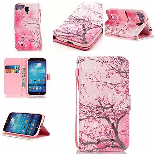 C-Super Mall-JP Samsung Galaxy S4 i9500 / GT - i9505 ケース:絶妙の3D塗装パターンPUレザー財布フリップスタンドケース.(桜)
