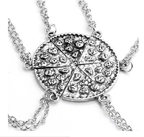 Uchange Antique Silver Color Pizza Slice Friendship Necklace Pendants Set of 6