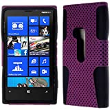 myLife (TM) Purple and Electric Matte Black Perforated Mesh Series (2 Layer Neo Hybrid) Slim Armor Case for the Nokia Lumia 920 920.2 920T and 920 4G Camera Smartphone by Microsoft (External Rubberized Hard Shell Mesh Piece + Internal Soft Silicone Flexible Gel)