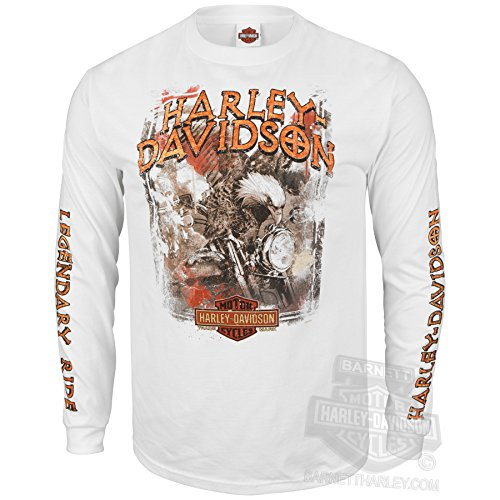Harley-Davidson Mens World of Mine Eagle on Motorcycle White Long Sleeve T-Shirt - 5X