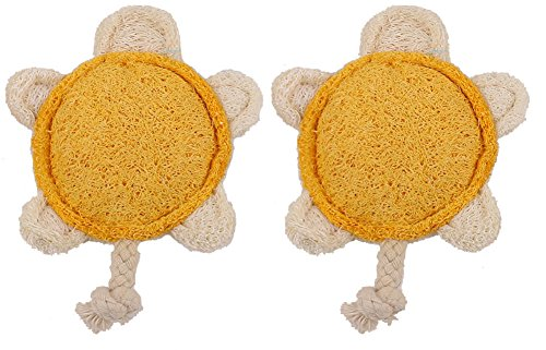 [Ball Tortoise Lucky Pet Style Loofah Pet Supplies Natural Material Clean Teeth for Dog Cat Toy (Dual] (Diy Shower Loofah Costume)