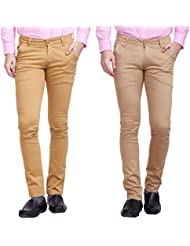 Nimegh Gold, Khaki Cotton Casual Slim Fit Trouser For Men's (Pack Of 2)