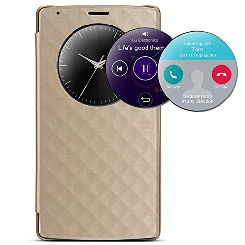 NeWisdom Quick Circle NFC And Qi Wireless Charging Smart case for LG For LG G4 H815 H811 - Gold