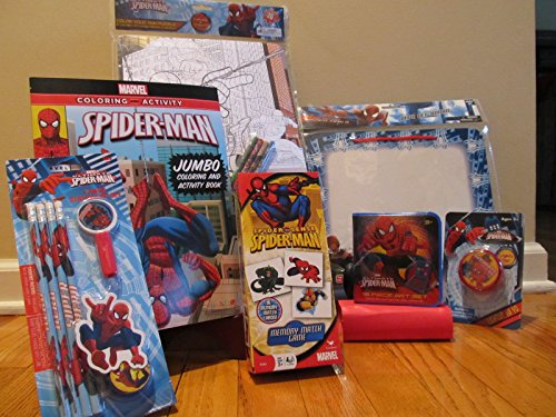 Spiderman Educational Activity Gift Pack Art Set Coloring Book Puzzle Tower Memory Match Jourrnal Stationary Set Light Up Yo Yo and Dry Erase Board Package Bundle of 7 Items (Spiderman Easter Basket compare prices)