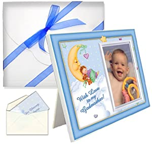 "Baptism Christening Gifts for Godmother ""With Love"" Picture Frame - Boy"