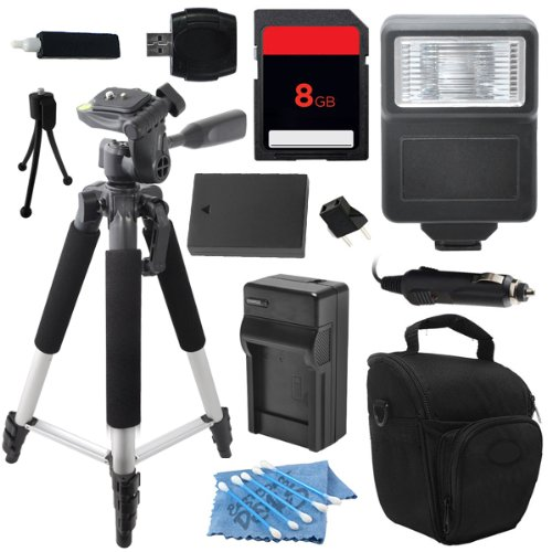 Advanced DSLR Digital Camera Flash Accessory Kit for Canon EOS Rebel 100D SL1 M includes (8GB SD Memory Card + Universal Flash + Full Size Tripod + High Capacity LP-E12 LPE12 Replacement Battery with Car/International Charger + More)