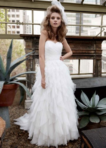 Strapless Dot Tulle Ball Gown Wedding Dress With Ruffle Skirt Soft White, 16