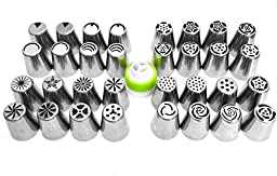 38 Piece - Complete Russian Piping Tips Set - Schast\'ye Original - Includes: 32 Stainless Steel Piping Tips + 1 Coupler + 5 Pastry Bags - Professional Cake Decorating Tool Kit (38 Pieces Total)