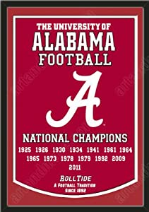 Dynasty Banner Of Alabama Crimson Tide With Team Color Double Matting-Framed Awesome... by Art and More, Davenport, IA