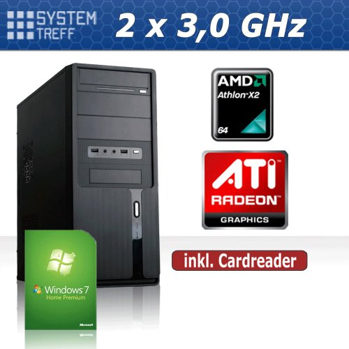 KOMPLETT PC System Rechner AMD X2 250 2x3,0 GHz | 4GB RAM | 500 GB Festplatte | 22x DVD Brenner | ATI HD3000 OnBoard DVI | 7.1 Soundchip | Gigabit LAN | 420 Watt (silent) Netzteil | Cardreader | MSI Mainboard | Windows 7 Home Premium 64bit OEM Vollversion