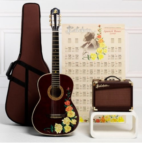 esteban spanish rosas classical acoustic electric guitar package w amplifier accessories and. Black Bedroom Furniture Sets. Home Design Ideas