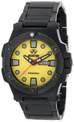 REACTOR Men's 72507 Meltdown Yellow Dial Black Nitride Plated Watch