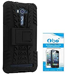 TBZ Hard Grip Rubberized Kickstand Back Cover Case for Asus ZenFone 2 Laser- ZE550KL (5.5 inch) with Tempered Screen Guard -Black