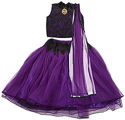 Angel Wears Girls' Net Lehenga Choli (Aw019_5-6 Years, Purple and Black, 5-6 Years)