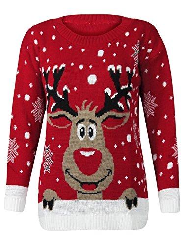 Forever Womens Rudolph Reindeer Print Snowflake Christmas Jumper (SM-6/8, Red)