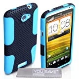 HTC One X Case Dual Combo Mesh Silicone Cover Black / Blue With Screen Protectorby Yousave Accessories