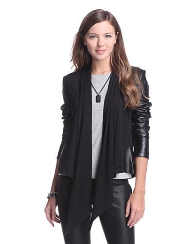 Bagatelle Women's Mixed Media Drape Front Jacket  - Black