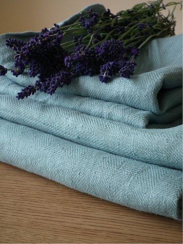 Lake Blue Linen Bath Towels Set Lara
