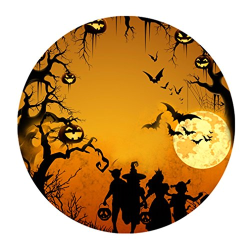 Funny Happy Halloween Elf Kids Jack-O'-Lantern Round One Size Mouse Pad Mousepad front-971311