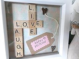 Personalised Scrabble Tile Art Life Love Laugh Frame. Handmade Family Tree Hand Stamped Message White Box Custom Wooden Letters Gift Engagement Present Name Art. Bespoke