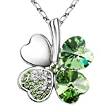 New Year Gift Idea! LadyGirl Four Leaf Clover Happiness Crystal Necklace, Gift Idea, Gift Box Included - Greenby LadyGirl