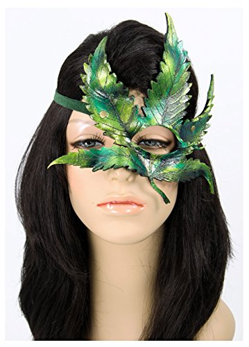Handcrafted Leather Cannabis Leaf Mask Green