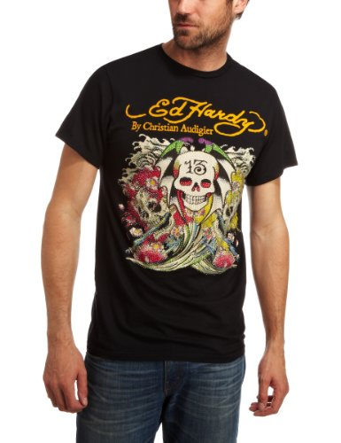 Ed Hardy 13 Ghosts Plat S10 Logo Mens T-Shirt Black Small