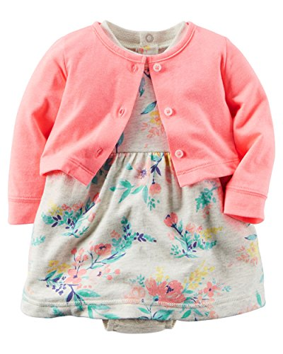 Carter's Baby Girls' 2 Piece Floral Dress Set Neon/Grey Flowers-9M