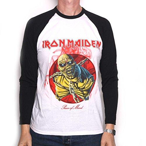 Iron Maiden T Shirt manica lunga, pezzo di mente Retro 100% Prodotto con licenza ufficiale Iron Maiden bianco medium