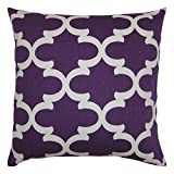 JinStyles® Cotton Canvas Quatrefoil Accent Decorative Throw Pillow Cover (Purple, White, Square, 1 Cover for 18 x 18 Inserts)
