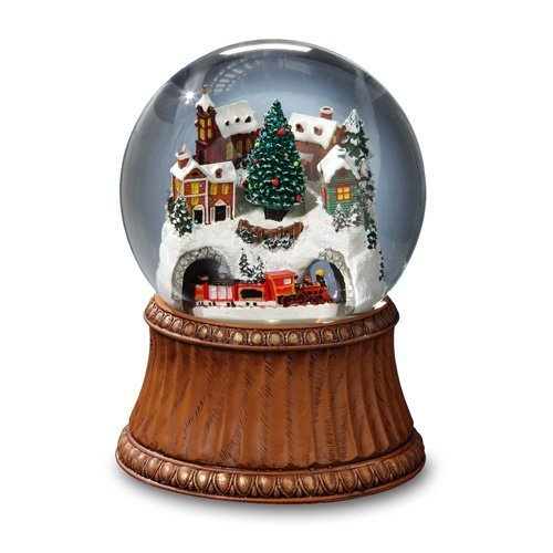 THE SAN FRANCISCO MUSIC BOX COMPANY Rotating Train and Mountain Village Snow Globe