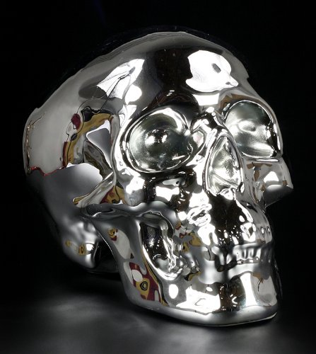 In ceramica, 20 cm, colore: argento, motivo: teschio, Nemesis Now