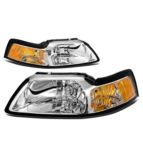DNA Motoring HL-OH-FM99-CH-AM Headlight Assembly (Driver & Passenger Side) (Mustang Headlights 99 04 compare prices)