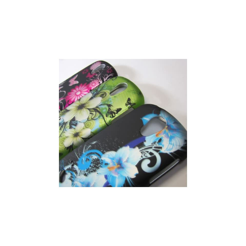 SET OF THREE 3X WHOLE WIRELESS NAME BRAND RUBBERIZED HARD PHONE CASES COVERS SKINS SNAP ON FACEPLATE PROTECTOR ACCESSORY FOR SAMSUNG GALAXY Q SGH T589R GRAVITY SMART TMOBILE CANADA SGH T589R SLIDER / GREEN HAWAIIAN FLOWER AND SKY BLUE FLOWER ON BLACK AND P