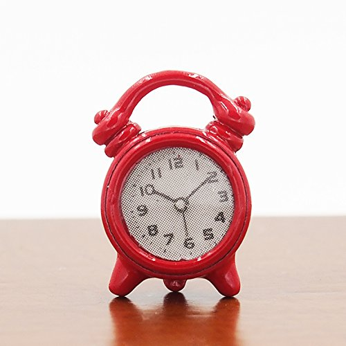1:12 Red Alarm Clock Fashioned Living Room Miniature Doll House Accessory Toy