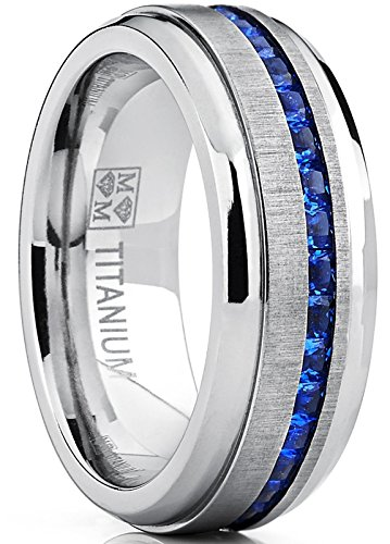 Men's Titanium Wedding Band Engagement Ring W/ Blue Simulated Sapphire Cubic Zirconia Princess CZ 11.5