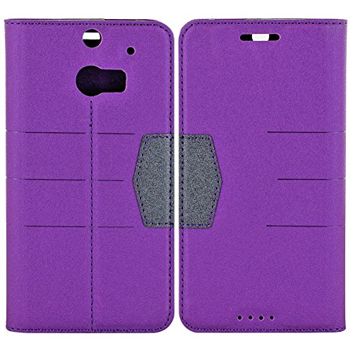 Mylife Royal Purple + Onyx Black {Fancy Design} Faux Leather (Card, Cash And Id Holder + Magnetic Closing) Slim Wallet For The All-New Htc One M8 Android Smartphone - Aka, 2Nd Gen Htc One (External Textured Synthetic Leather With Magnetic Clip + Internal