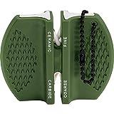 Green Portable Pocket Knife V Sharpener Dual System Carbide Ceramic w/ Key Chain