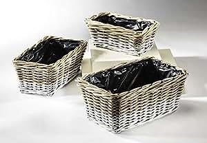 bertopf aus rattan rechteckig krabu im 3er set garten. Black Bedroom Furniture Sets. Home Design Ideas