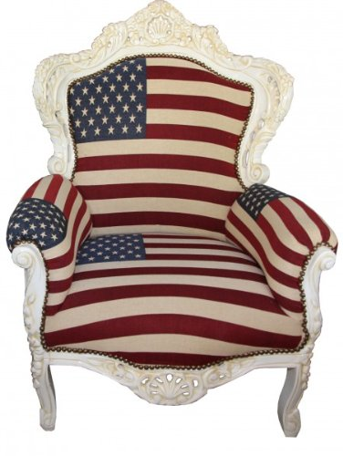 Casa Padrino Baroque Armchair 'King' USA Design/ Cream antique style furniture USA Flag