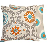 Chloe & Olive Pinwheel Collection Floral Pinwheel and Polka Dot Toss Pillow Cover, 20-Inch, Orange