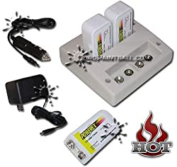 Charger Kit: PowerEx MH-C490F Stealth Two Hour 4 Bank 9V Charger w/ 3 x 9.6V batteries
