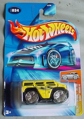 Hot Wheels 2004 Blings Hummer H2 First Edition YELLOW #034 #34 34/100 1:64 Scale - 1