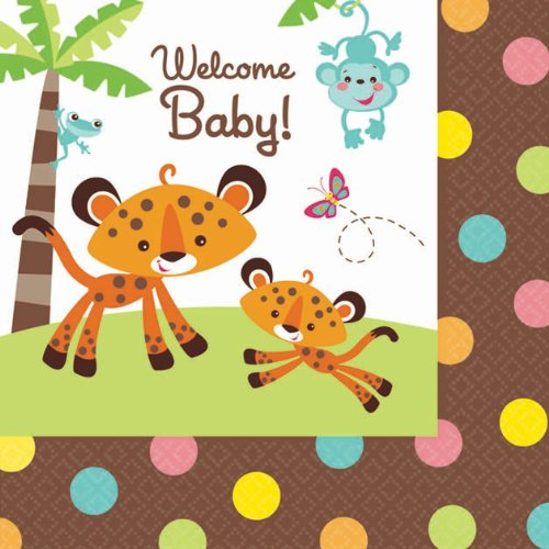 Amscan Adorable Fisher Price Beverage Baby Shower Party Supply Paper Napkins, 5.5 x 5.5