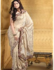 Utsav Fashion Women'sCream Faux Georgette Saree with Blouse