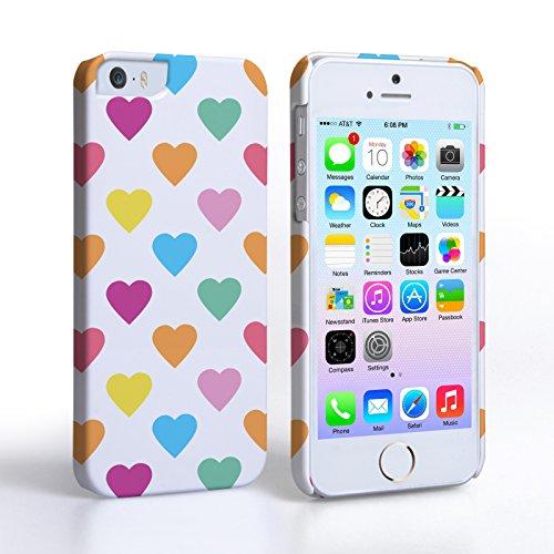 Caseflex Cover Per iPhone 5 / 5S Custodia Pastello Polka Cuori San Valentino Duro Ibrido