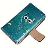 Owls 10006, Embossed Black Leather Flip Wallet Case Cover Shell with Textured Design and Magnetic Clip for Samsung Galaxy S2 i9100 i9200.