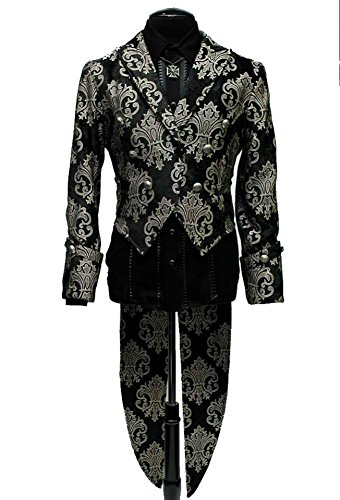 Shrine-Gothic-Steampunk-Victorian-Virtuoso-Maestro-Silver-Black-Jacket-Tailcoat