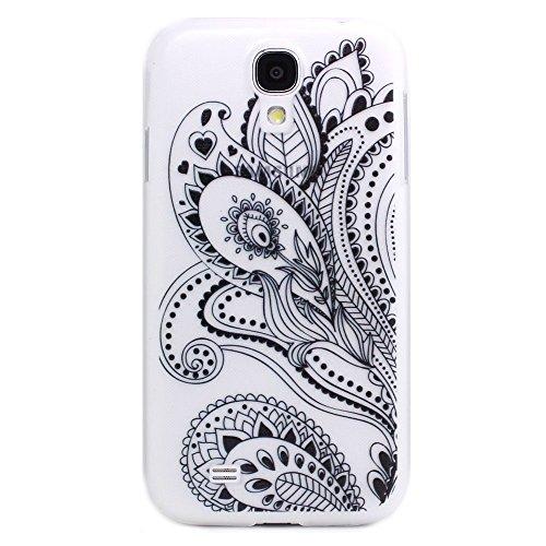 JIAXIUFEN Custodia Cover Case Ultra Slim Hard Plastica Custodia Protettiva Case Cover per Samsung Galaxy S4 Mini - Henna White Floral Paisley Flower Mandala Black